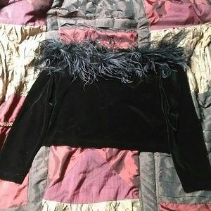 Cachet Velvet/Feather Off The Shoulders Top